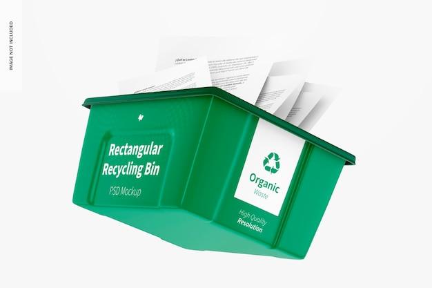 Rechteckiger recyclingbehälter mockup, schwimmend
