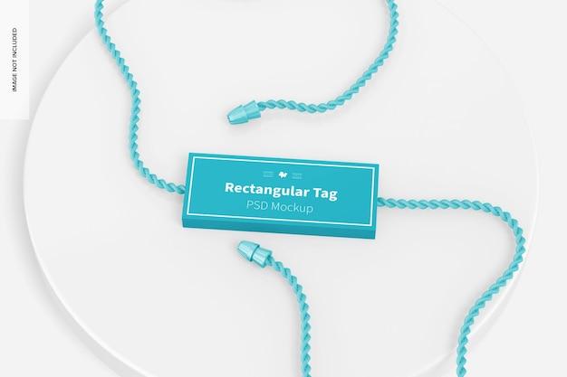 Rechteckiges textil-tag-modell, ansicht von oben