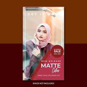 Red matte color story feed vorlage für soziale medien