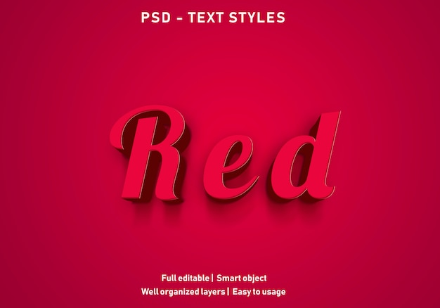 Red text effekte stil bearbeitbare psd
