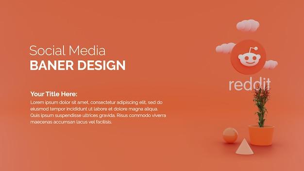 Reddit-logo-symbol auf 3d-rendering-hintergrund