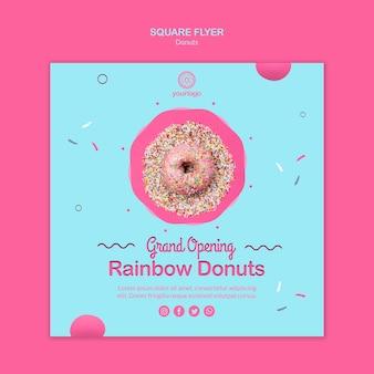 Regenbogen köstliche donuts quadratischer flyer