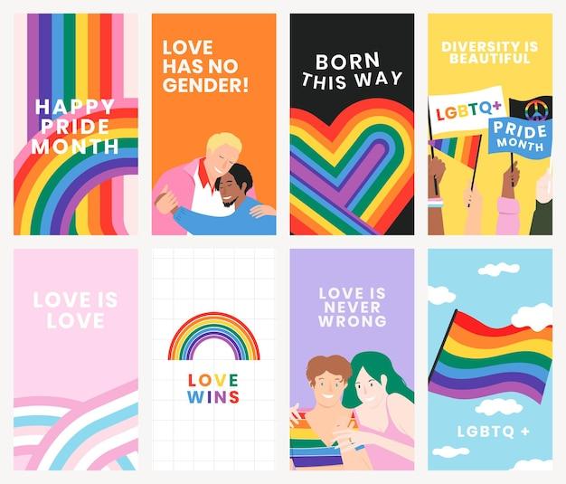 Regenbogen-vorlage psd lgbtq-stolzmonat mit liebe gewinnt text