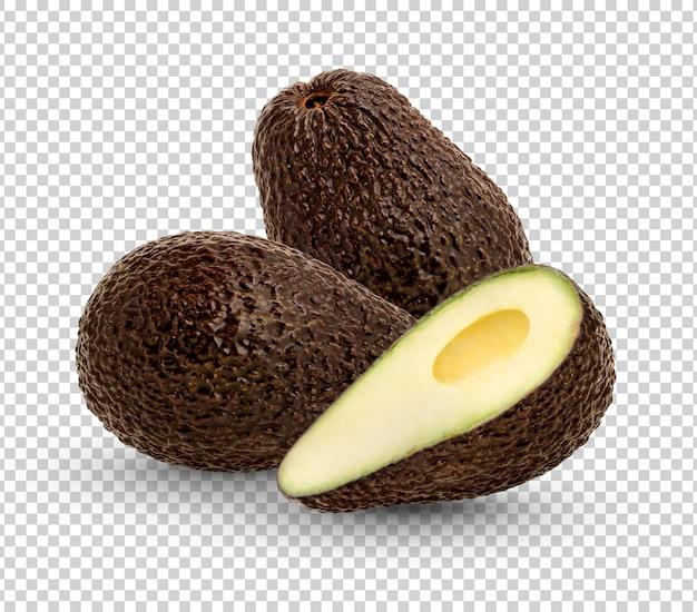 Reife avocado mit blättern isoliert