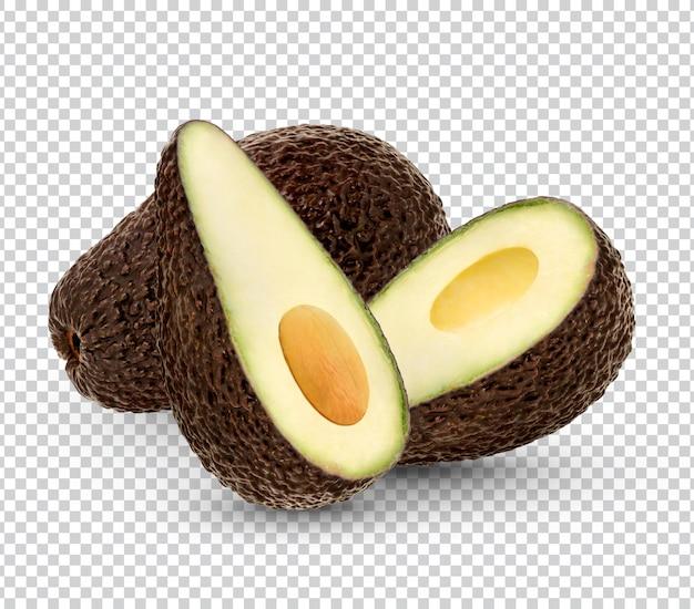 Reife avocado mit blättern isolierte wiedergabe