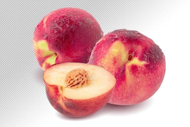 Reife frische pfirsiche über alphahintergrund isoliert.