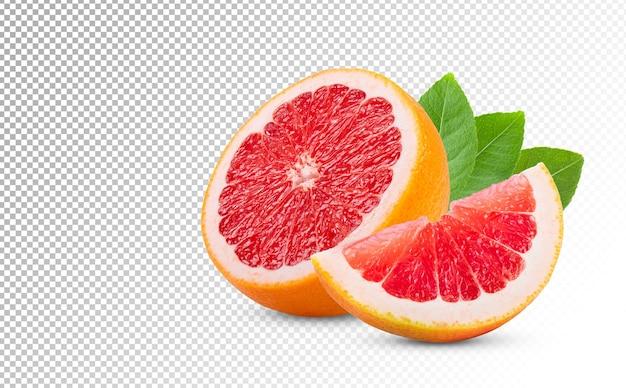 Reife hälfte der rosa grapefruit-zitrusfrucht lokalisiert auf weißem hintergrund. volle schärfentiefe
