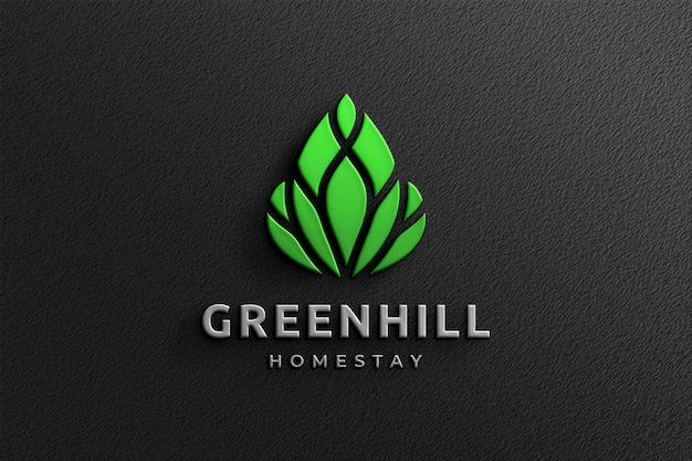 Reinigen sie das 3d company glossy logo mockup