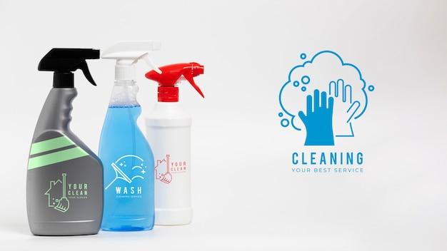 Reinigen sie ihren besten service verschiedene behälter mit waschmittel