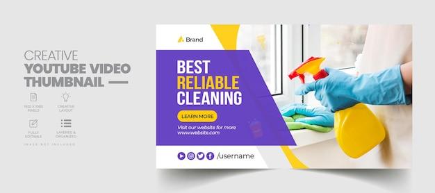 Reinigungsservice youtube-video-thumbnail und web-banner-vorlage