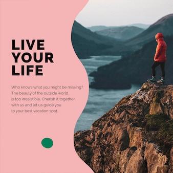 Reise-berg-marketing-vorlage psd social media-anzeige für agenturen
