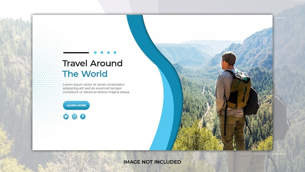 Reise-landingpage-vorlage mit foto