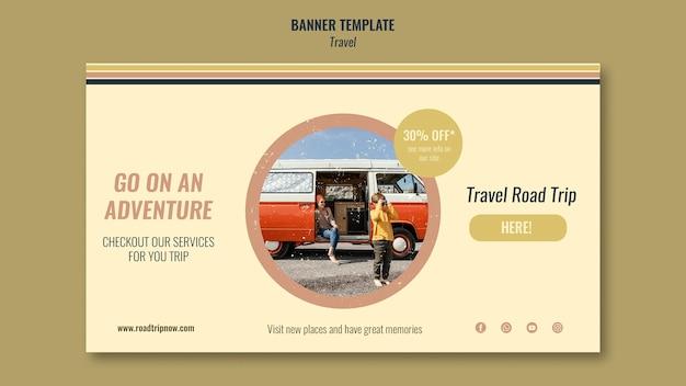 Reise-roadtrip mit rabatt-banner-vorlage