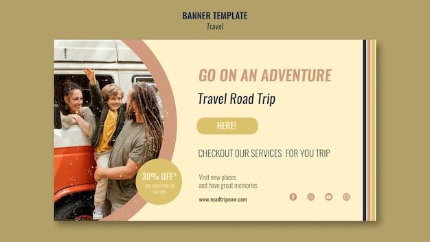 Reise-roadtrip mit rabatt-banner