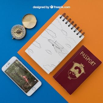 Reiseartikel mit notizblock