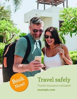 Reisebüro flyer vorlage psd mit urlaubsfoto im modernen stil