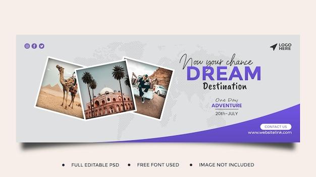 Reisebüro social media post vorlage banner facebook bucht