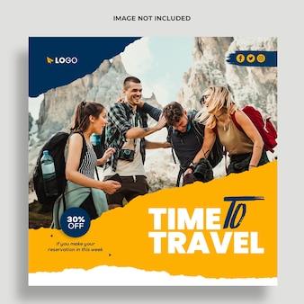 Reisebüro-social-media- und banner-vorlage premium psd