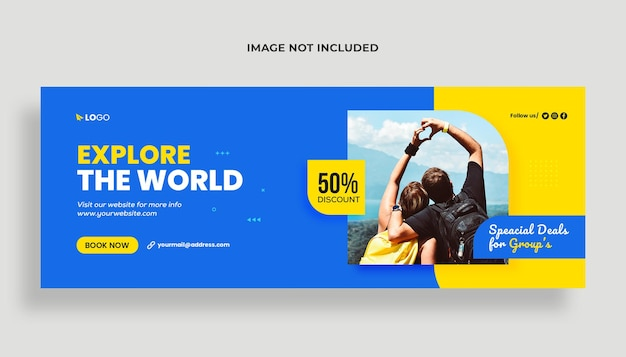 Reisebüro social media und facebook cover banner vorlage premium psd