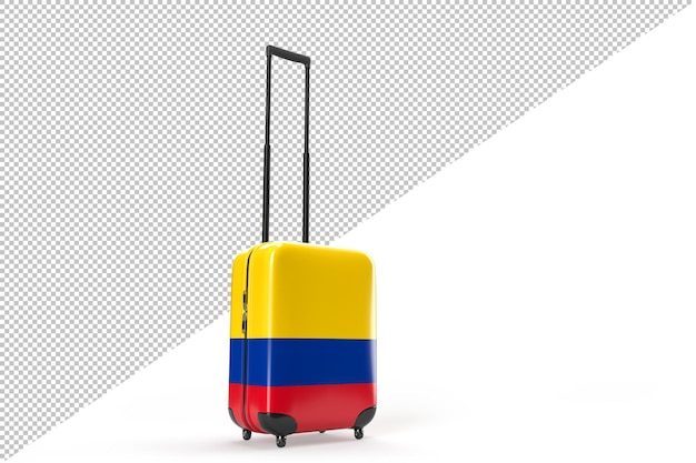 Reisekoffer mit der kolumbianischen flagge. reisekonzept. isoliert. 3d-rendering