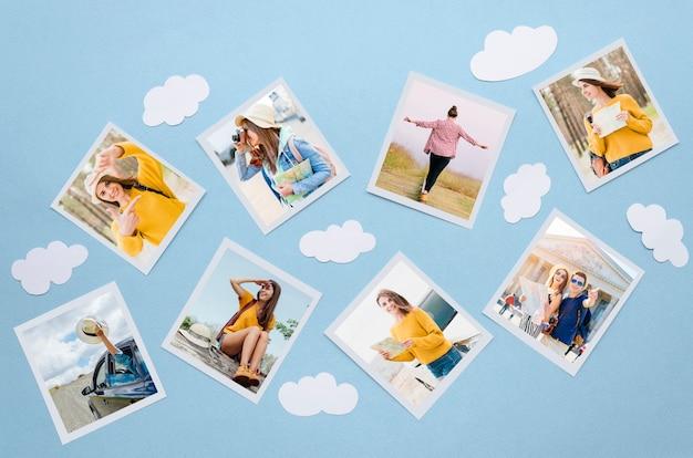 Reisekonzept von oben mit fotos