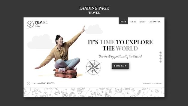 Reisen sie die welt landing page vorlage