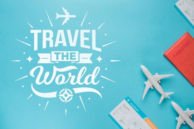 Reisen sie die welt, motivbeschriftungszitat für reisendes konzept der feiertage