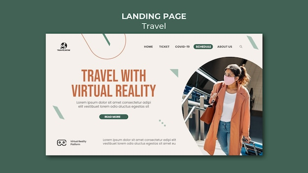 Reisen sie mit der landingpage für virtuelle realität