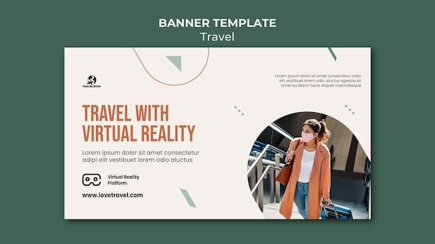 Reisen sie mit virtual reality banner vorlage