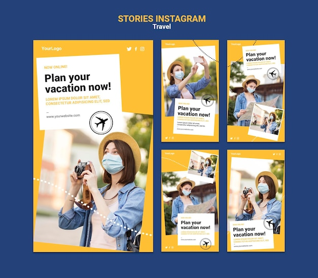 Reisen sie social media-geschichten mit fotos