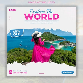 Reisen und touren social-media-instagram-post-banner-vorlage