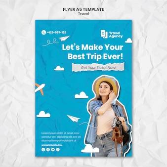 Reisen vertikale flyer vorlage mit foto
