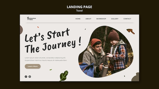 Reisende landingpage mit foto