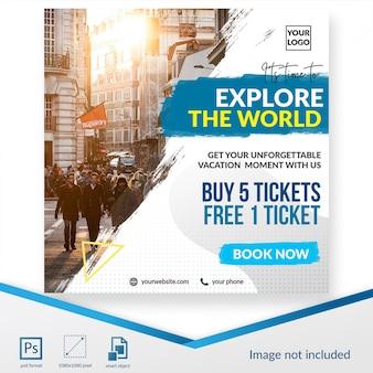 Reisezeit social media post oder banner vorlage