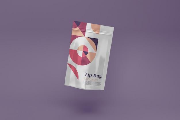 Reißverschlusstasche realistic mockup isolated