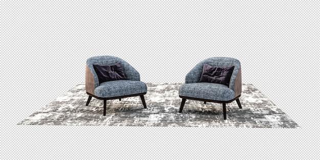 Relax stuhl modell in 3d-rendering isoliert