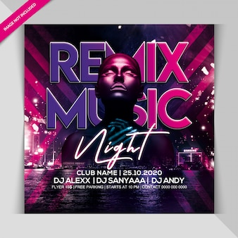 Remix musik nacht party banner vorlage