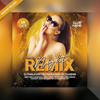 Remix nacht party flyer vorlage