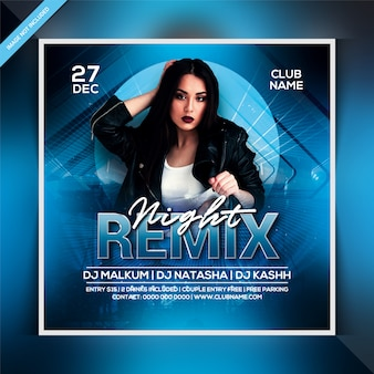 Remix nacht party flyer vorlage