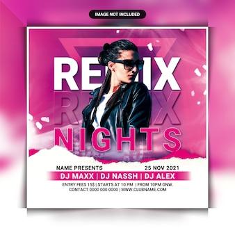 Remix nachtclub party flyer vorlage