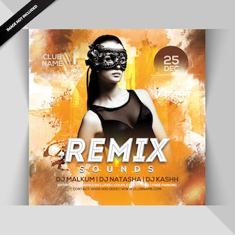 Remix sound dj party flyer
