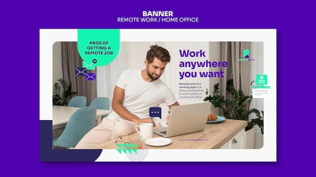Remote arbeitende banner-vorlage