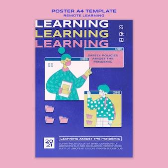 Remote education poster vorlage Kostenlosen PSD