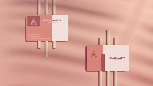 Rendering 3d der visitenkarte rosa modell