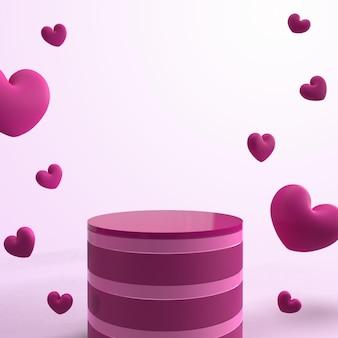 Rendering des rosa podiums 3d mit liebessymbol