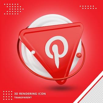 Rendering-symbol des pinterest-logos für soziale medien 3d