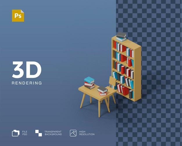 Rendering von 3d-bibliotheksillustrationen