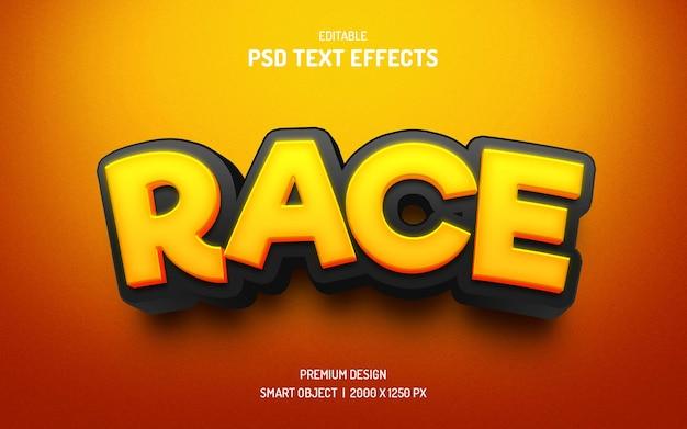 Rennen im 3d-textstil-mockup
