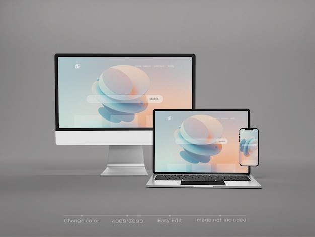 Responsive geräte website-modell 3d-rendering