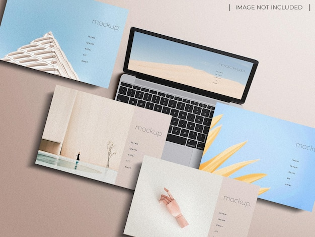Responsive laptop multi-gerät bildschirm website präsentation mockup konzept draufsicht isoliert